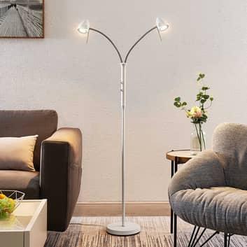 Lindby Heyko lampada LED da terra, dimming, 2 luci