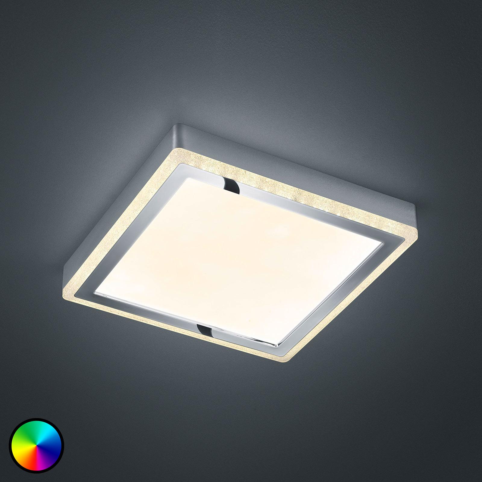 LED-taklampe Slide, hvit, kantet 25x25cm