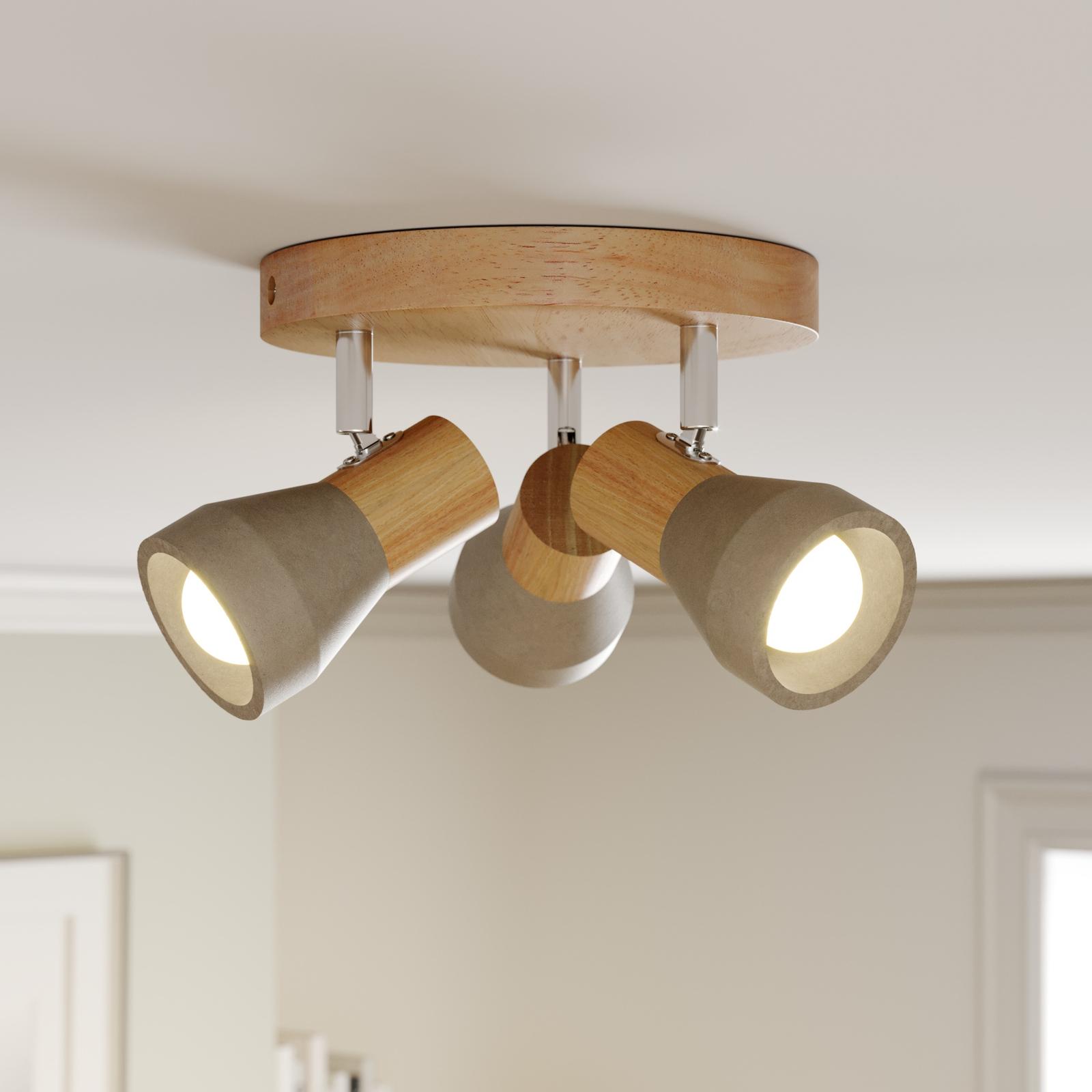 Faretto LED in legno Filiz con paralumi in cemento