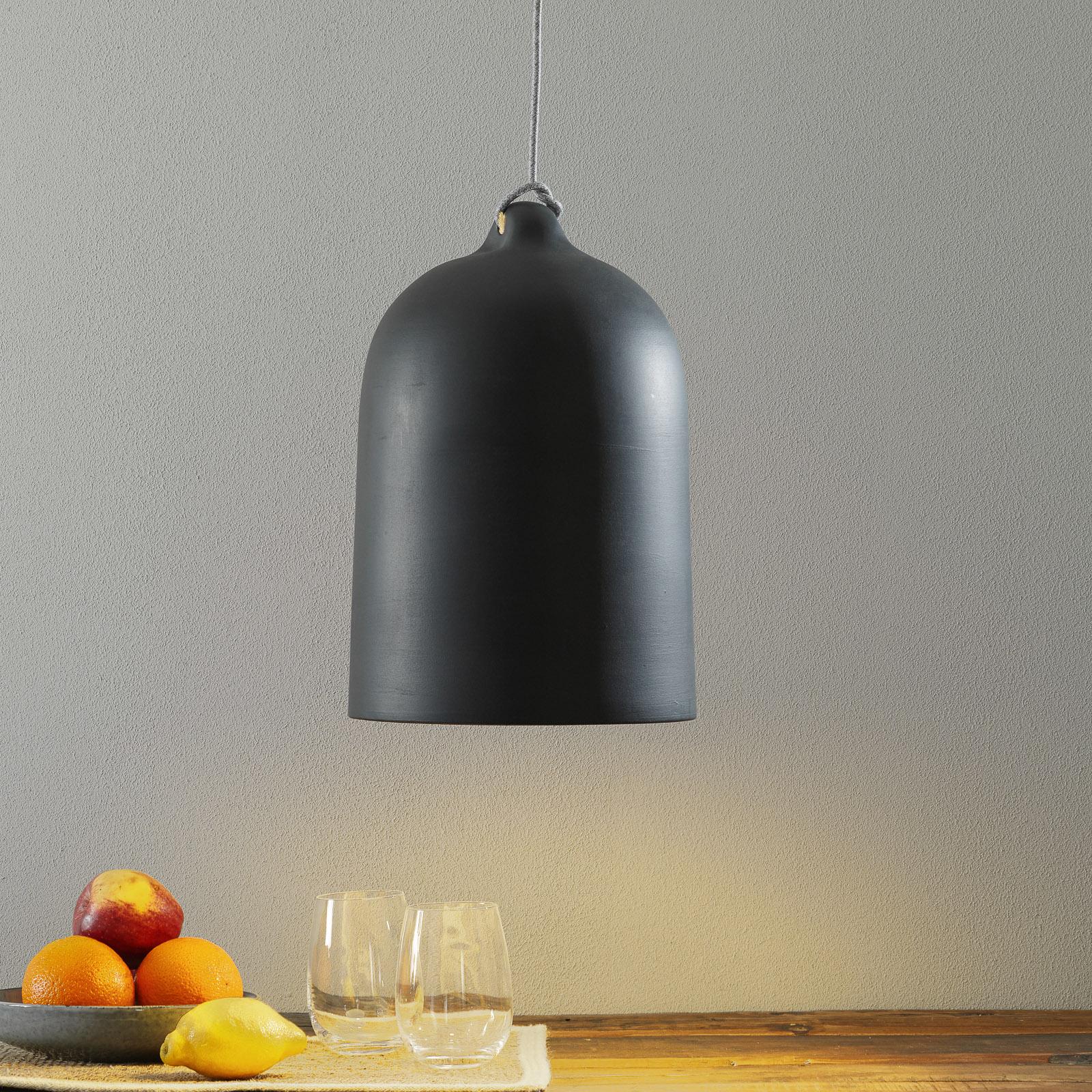 Závesná lampa Cottura z keramiky, bridlicovosivá