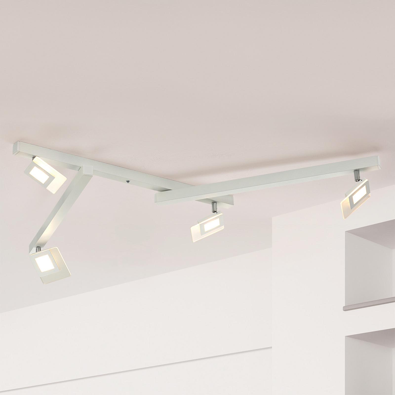 LED-taklampe Line med fem lys, hvit