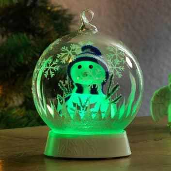 LED-koristevalaisin lasipallo, lumiukko