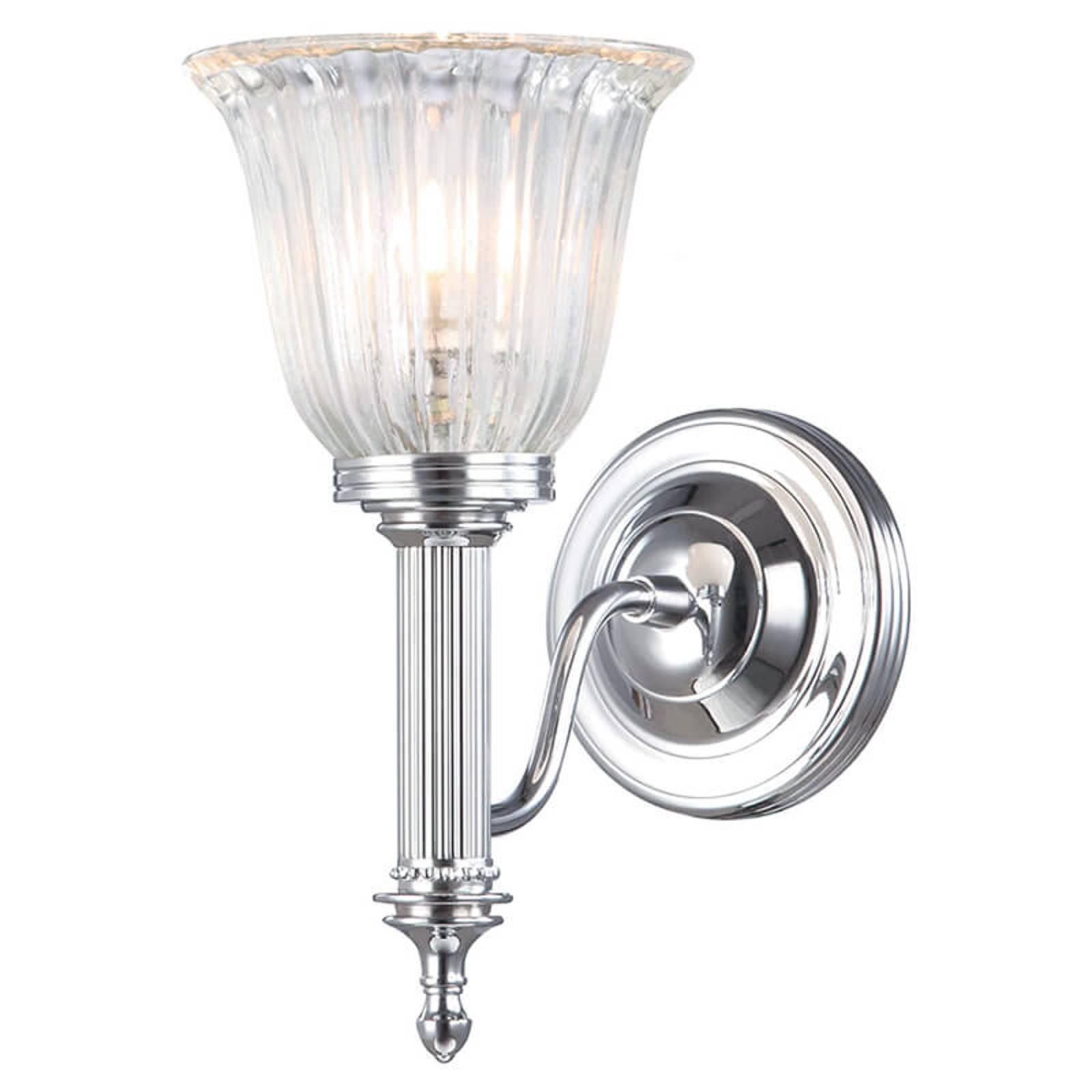 Vochtbestendige wandlamp Carroll, glas geribbeld