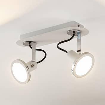 Lindby Theda faretto LED bianco, 2 luci