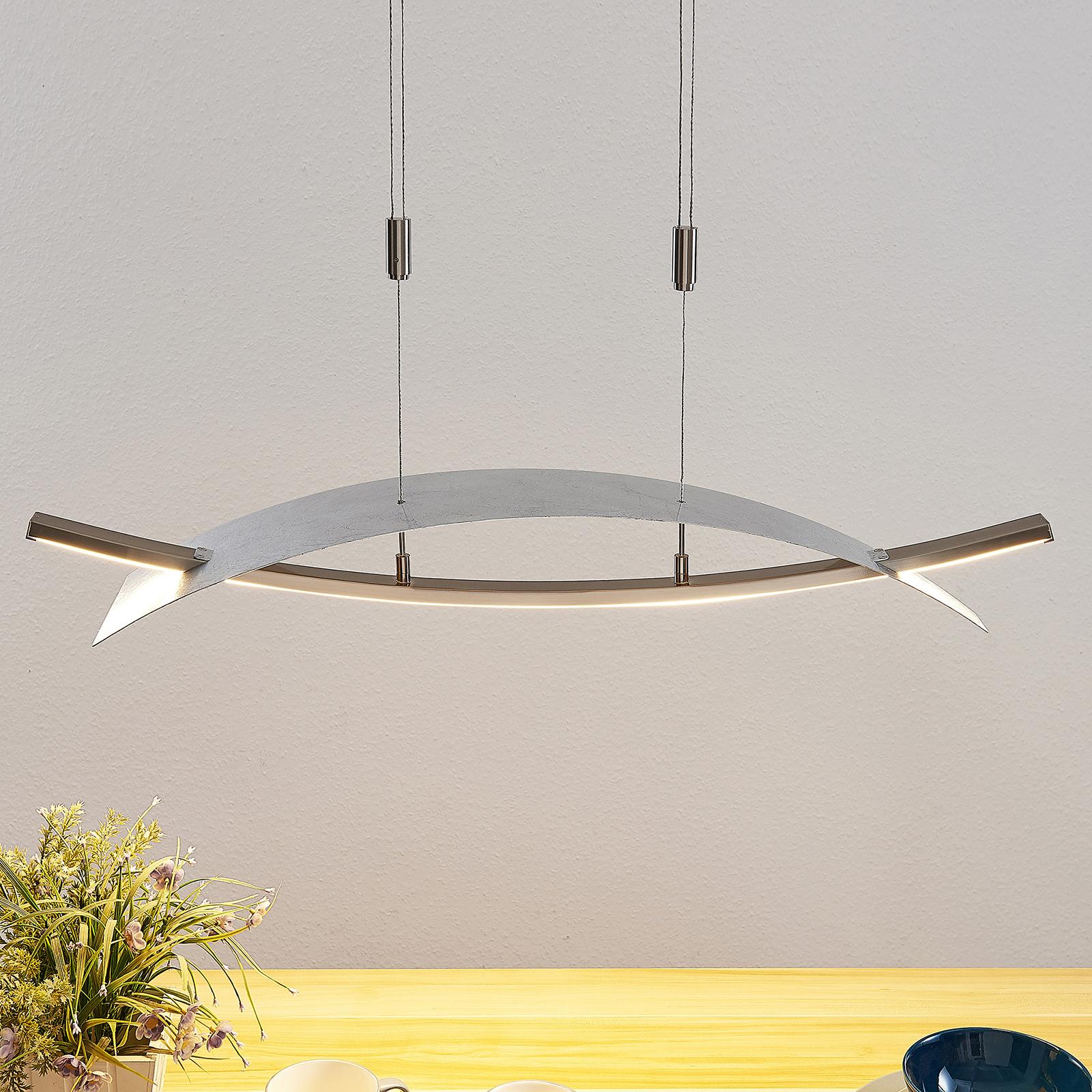 LED hanglamp Marija, horizontale afdekking, zilver
