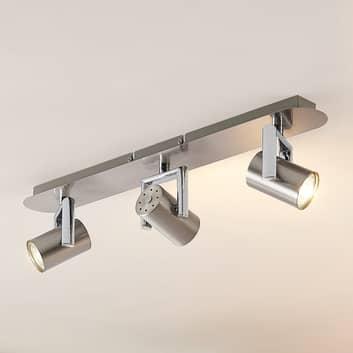 Lindby Reina takspotlight, nickel, 3 lampor, lång