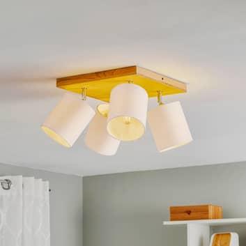Takspotlight Corralee, vit, kvadrat 4 lampor
