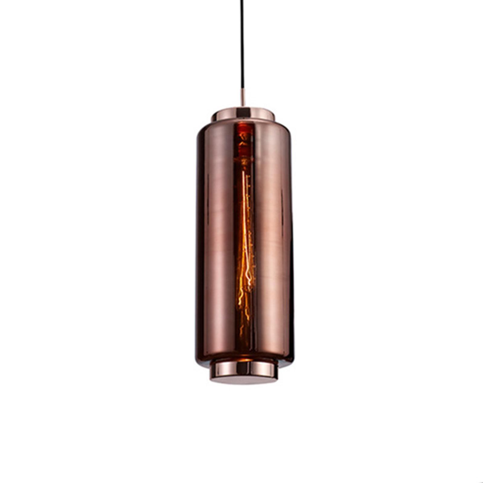 Szklana lampa wisząca Jarras, 53,5 cm, miedziana