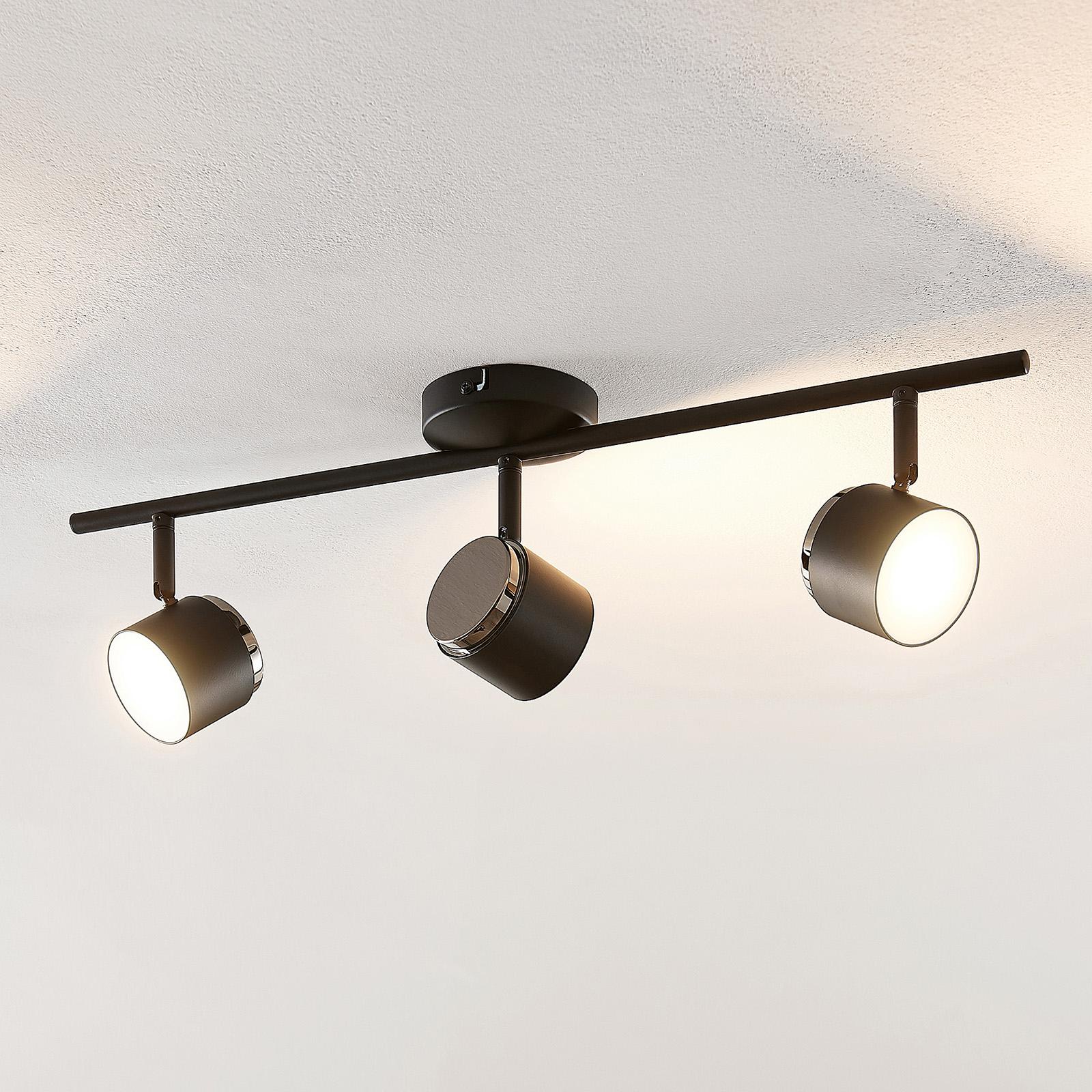 LED Deckenlampe Michiko Strahler Dreiflammig Schwarz Kupfer Lindby Küche Flur