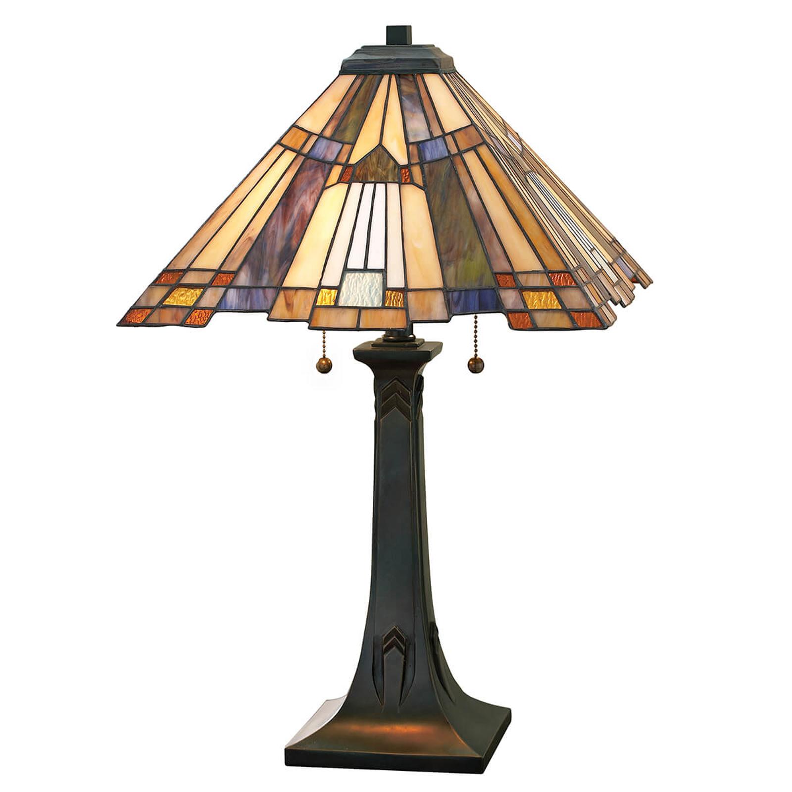 Tafellamp Inglenook met bont glas