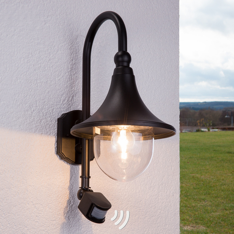 Daphne-buitenwandlamp, zwart, met sensor