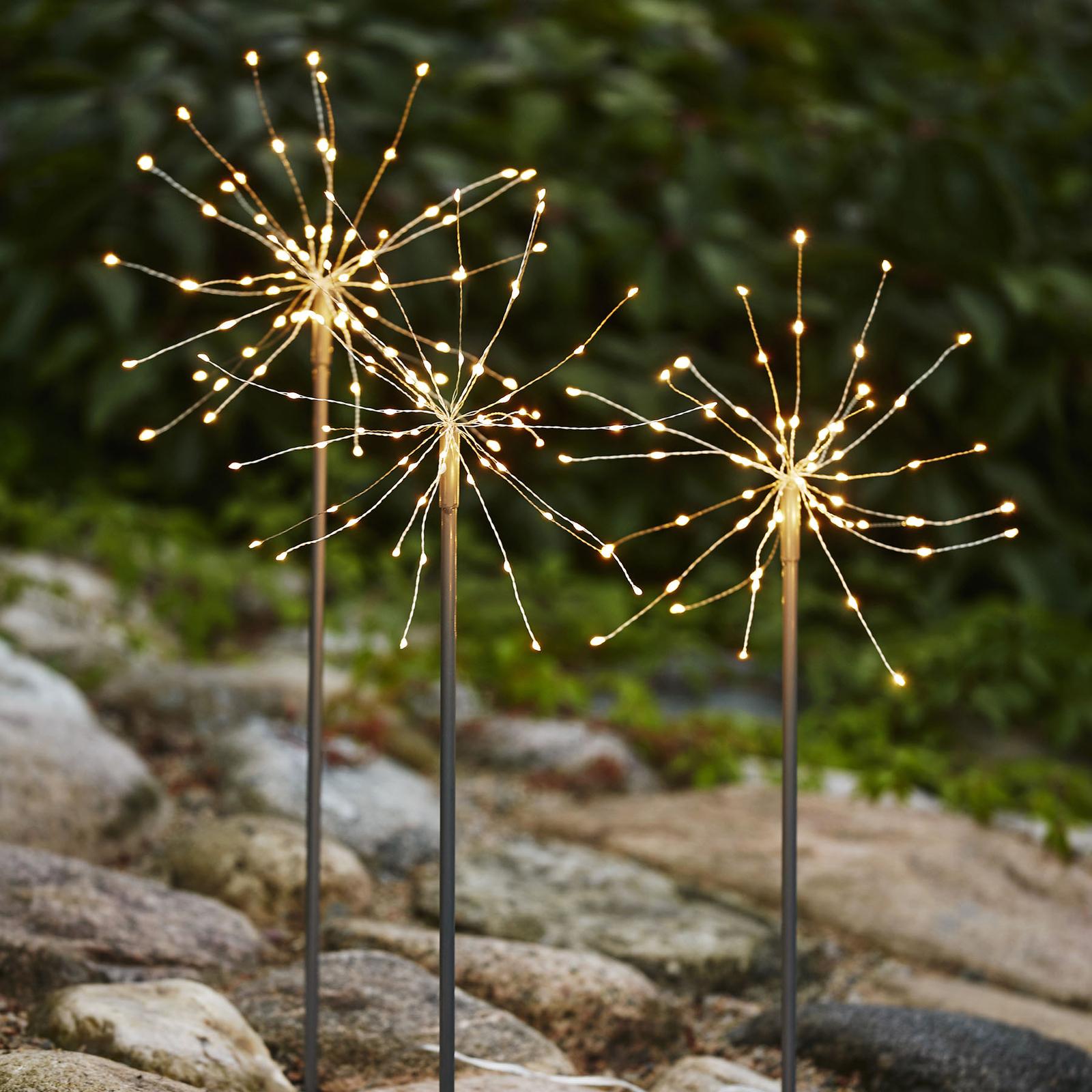 LED-dekolampe Firework Outdoor dagslys - 3-er-sett