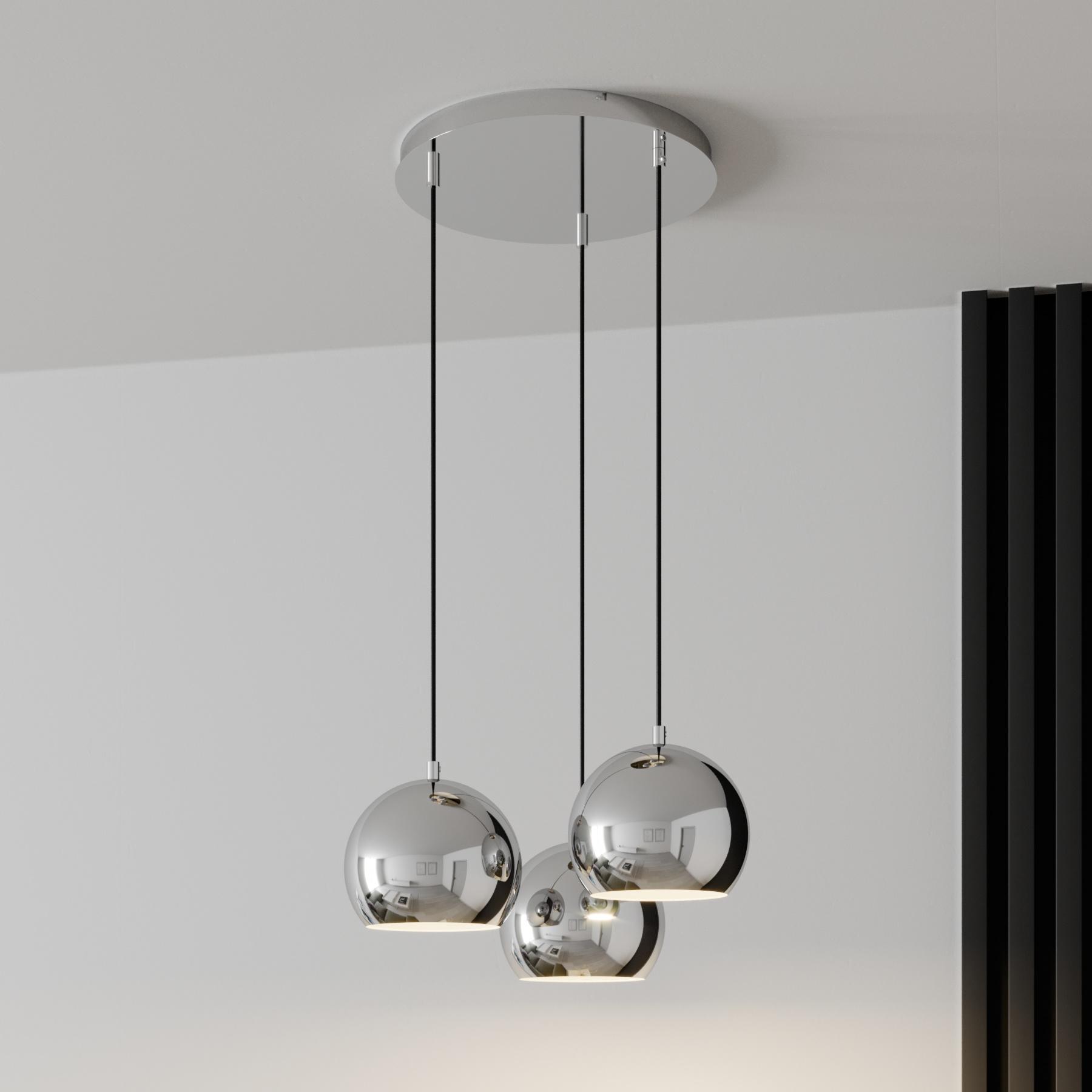Hanglamp Cool, 3-lamps rond, chroom