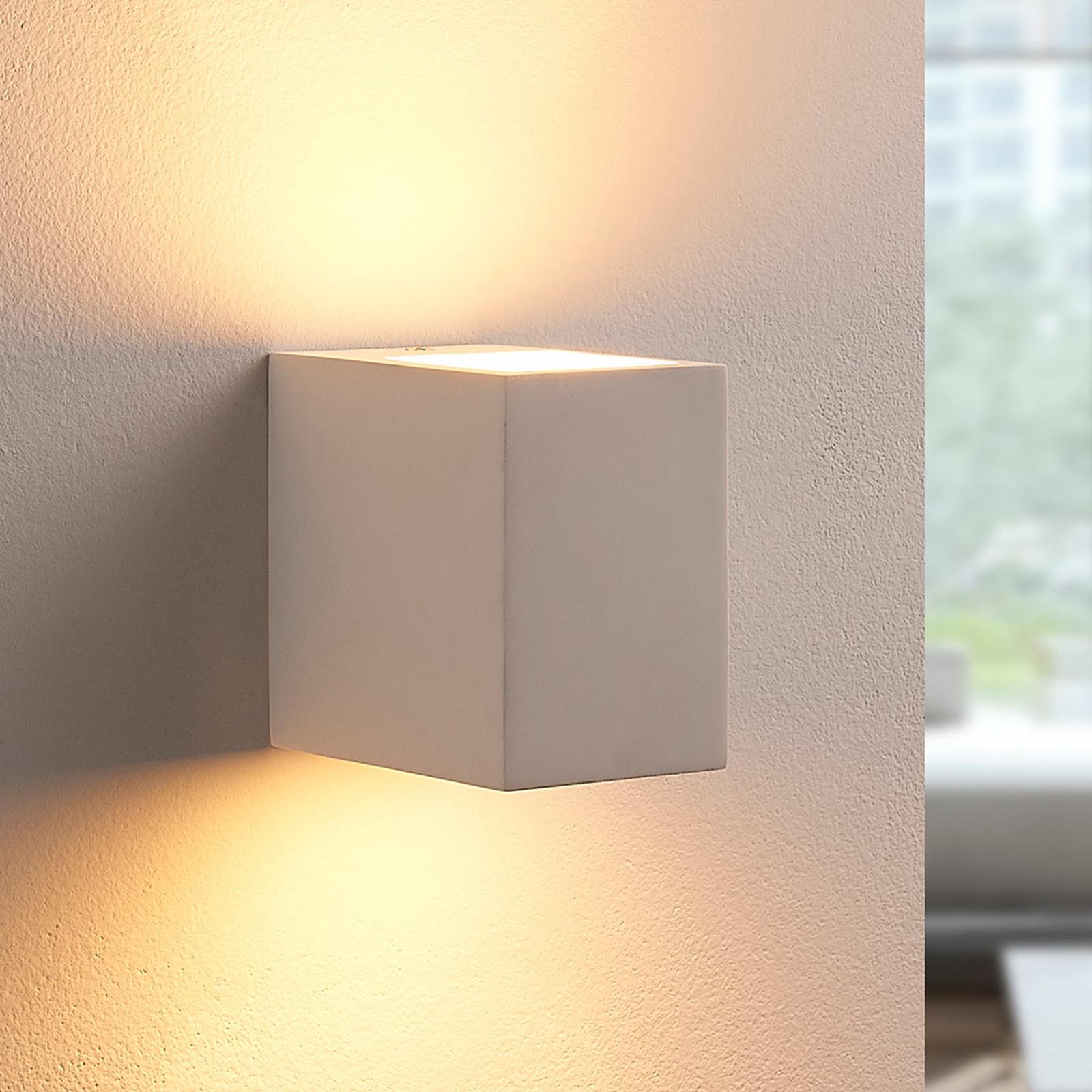 LED-Wandleuchte Jannes aus Gips, eckig