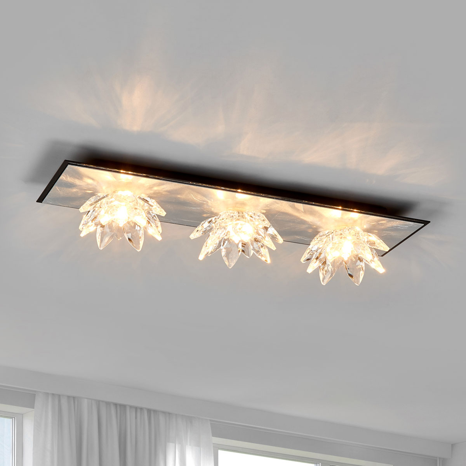 Fiore Cristallo bladzilveren plafondlamp 3 lampjes