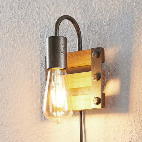 Lindby Jamina drewniana lampa ścienna, 1-punktowa