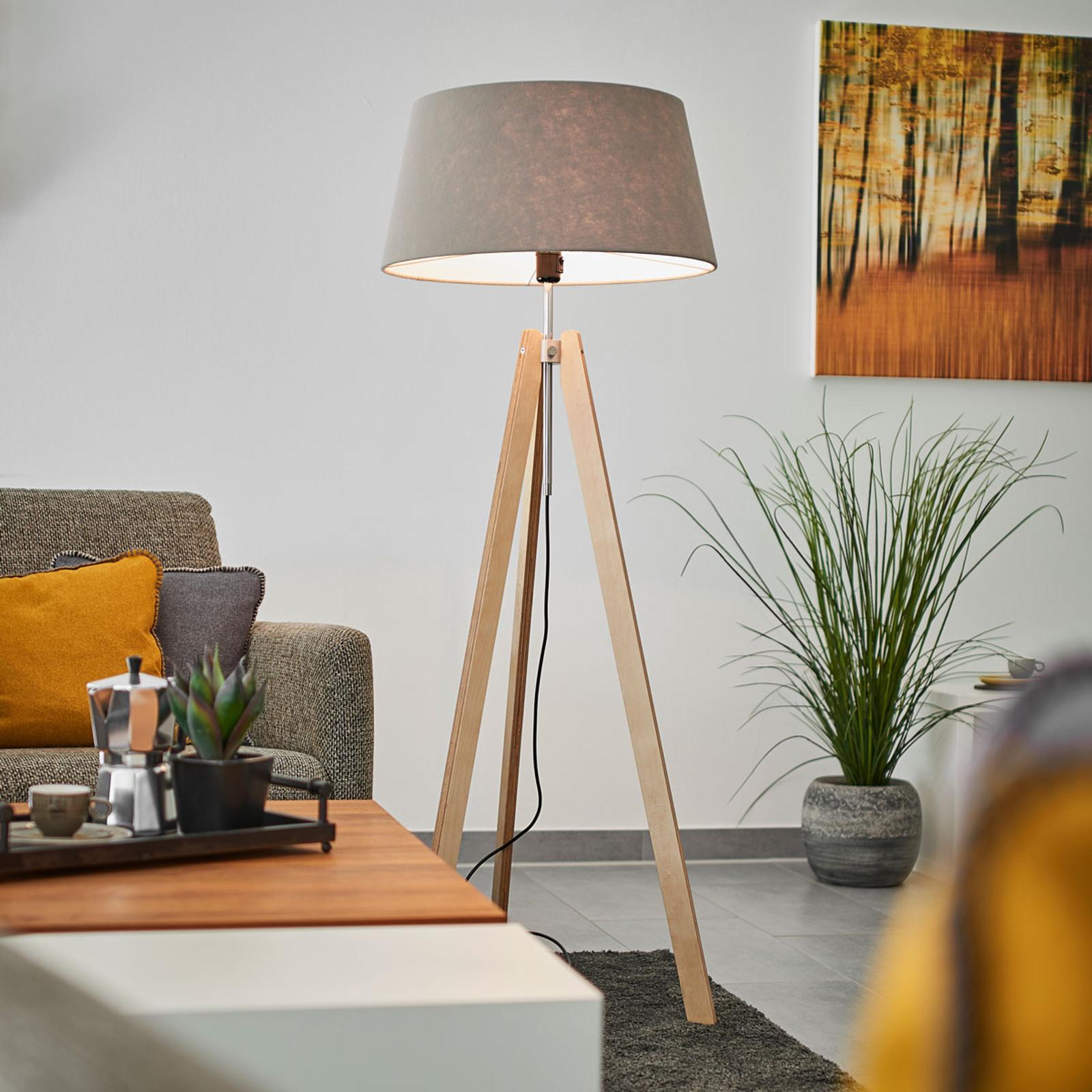 Drewniana lampa stojąca Thea z szarym kloszem