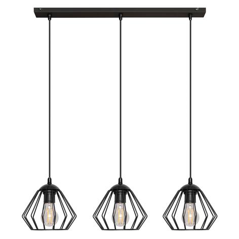 Lámpara colgante Agat negro, 3 luces
