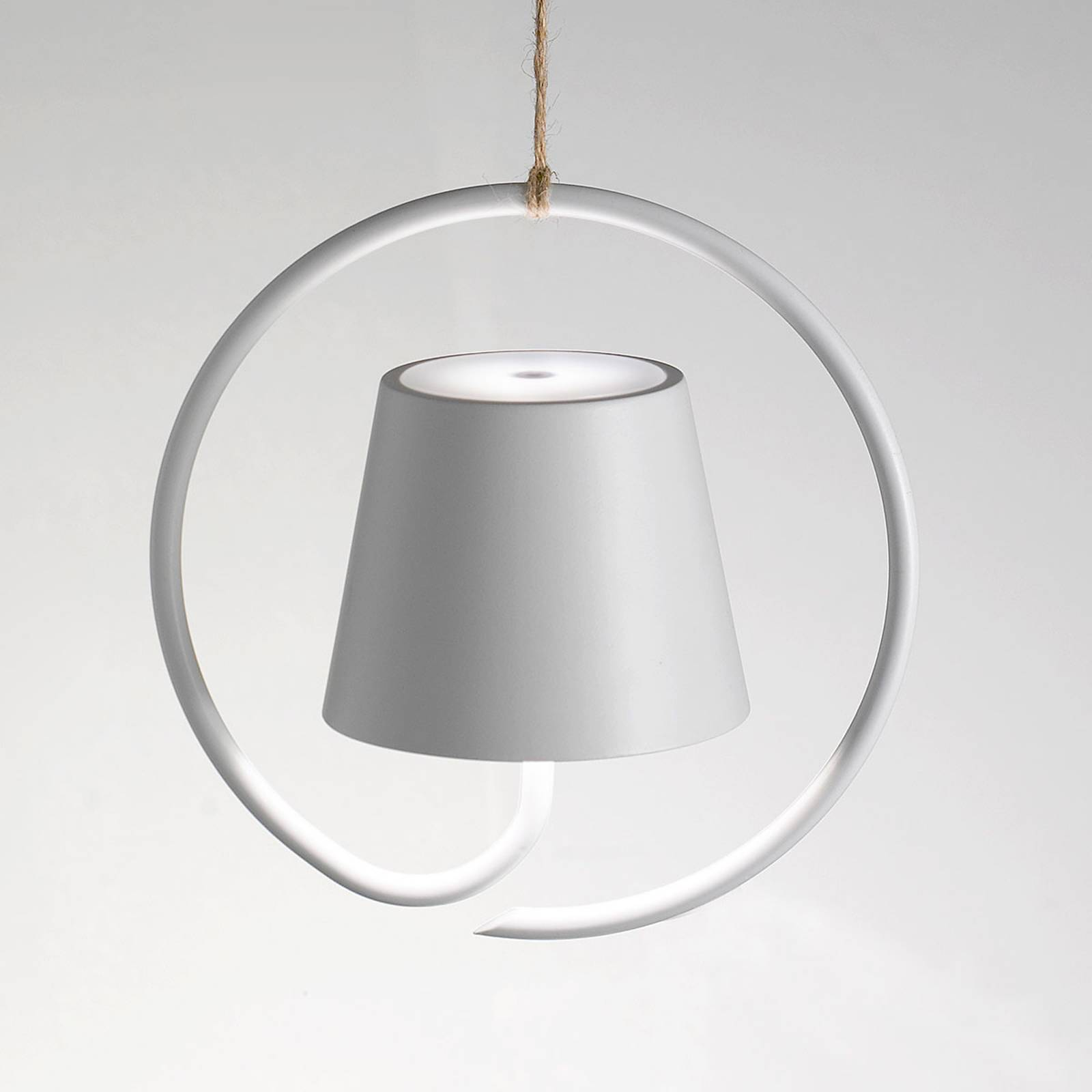 LED-Hängeleuchte Poldina akkubetrieben, weiß