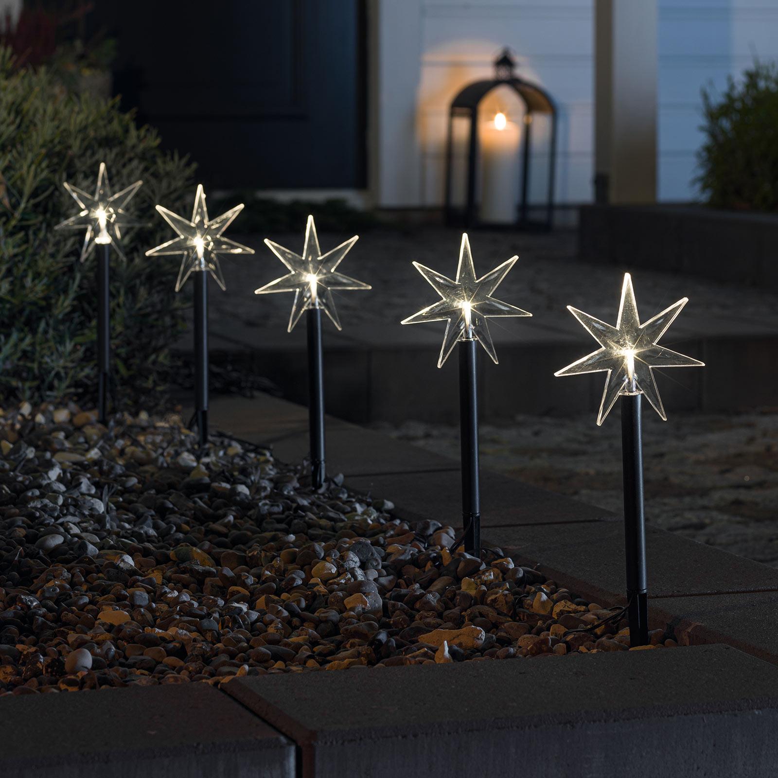 Déco extérieure LED Étoile, 5 branches, piquet