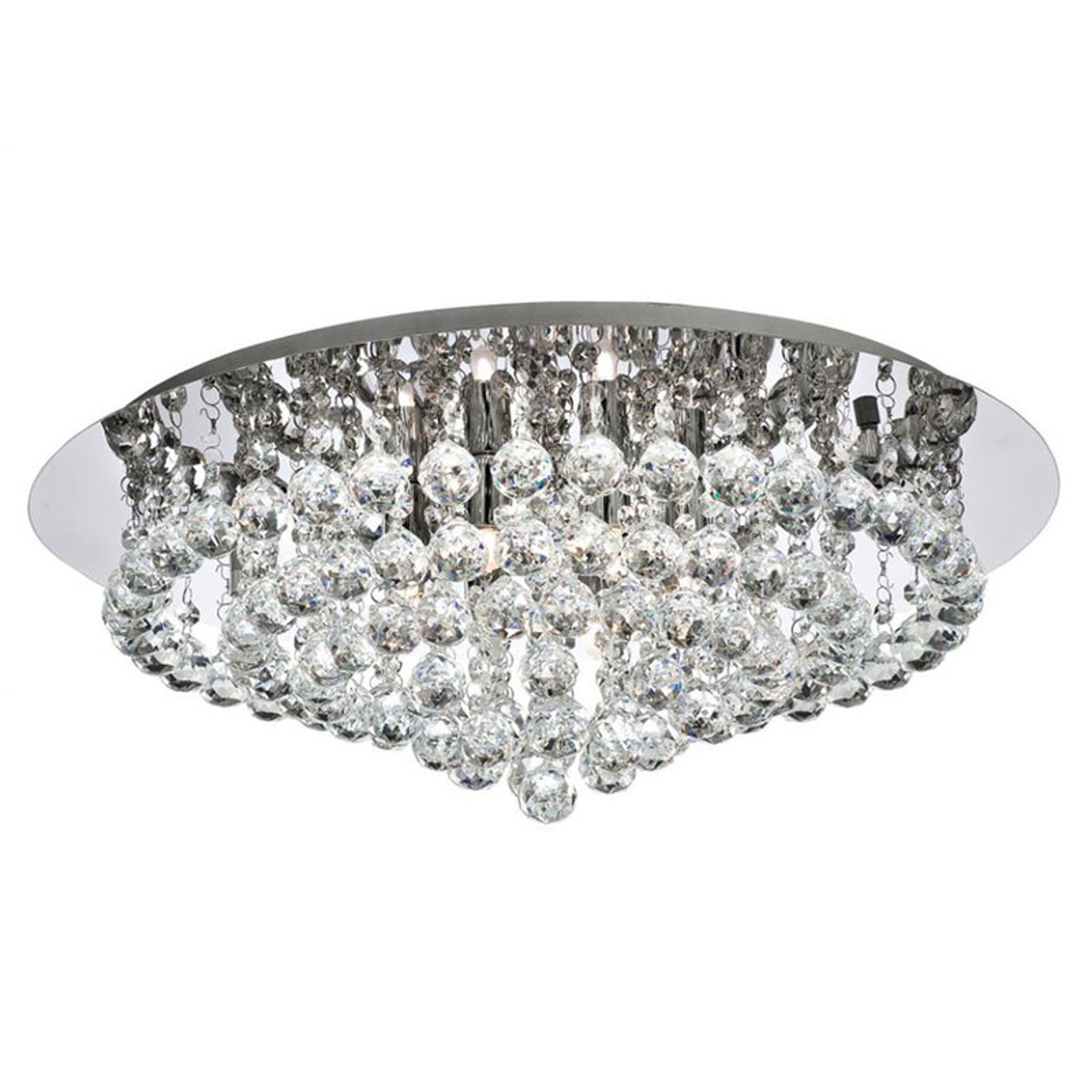 Taklampe Hanna krom med krystallkuller 55 cm