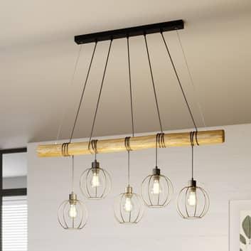 Suspension Karou à 5 lampes, brun décapé
