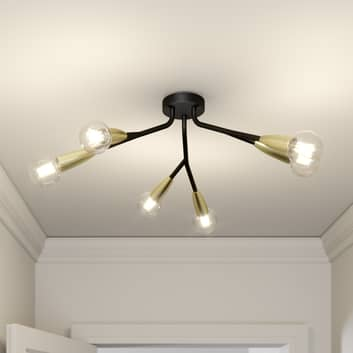 Lucande Carlea plafonnier, 6 lampes noir-laiton