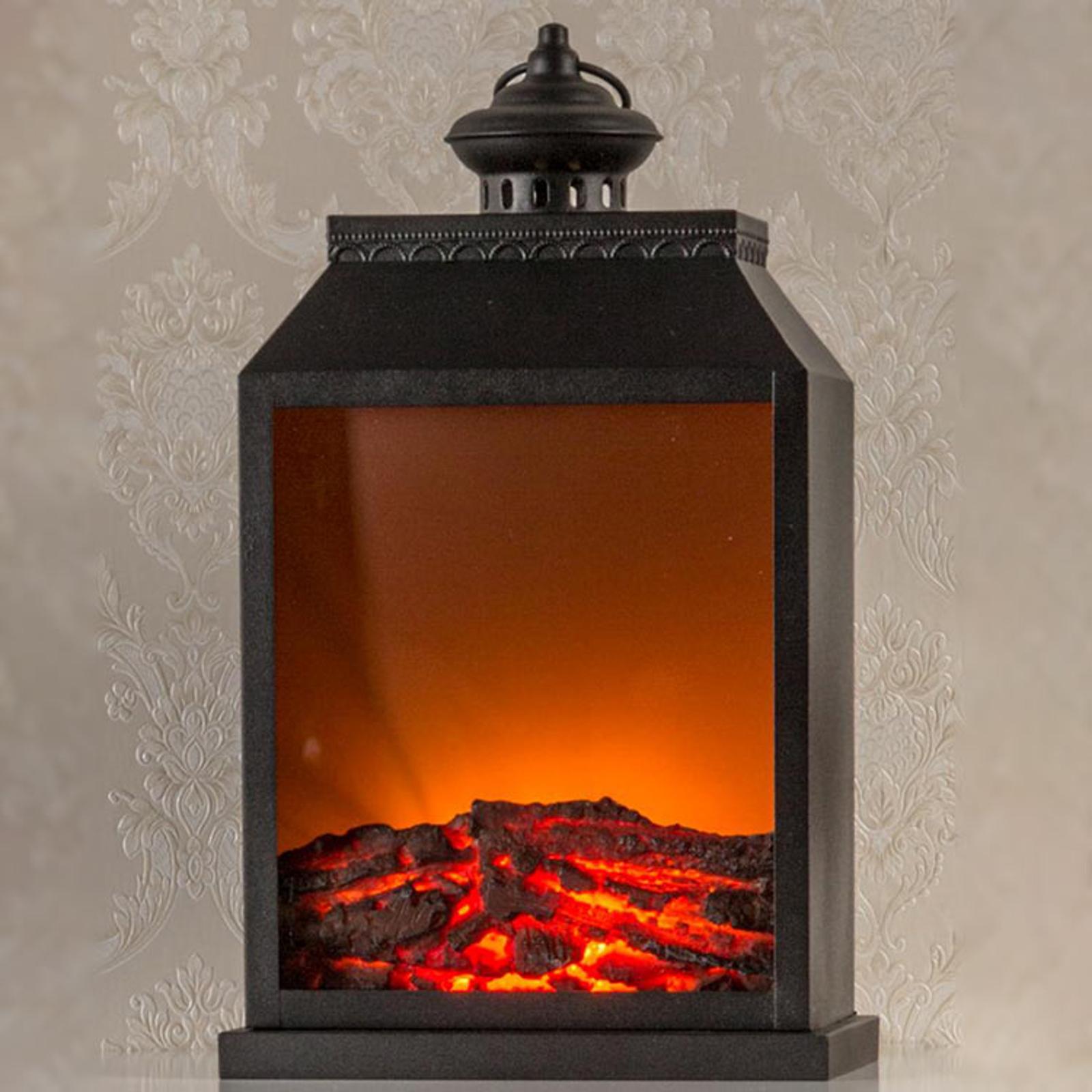 Lanterne en métal LED à effet cheminée, à piles