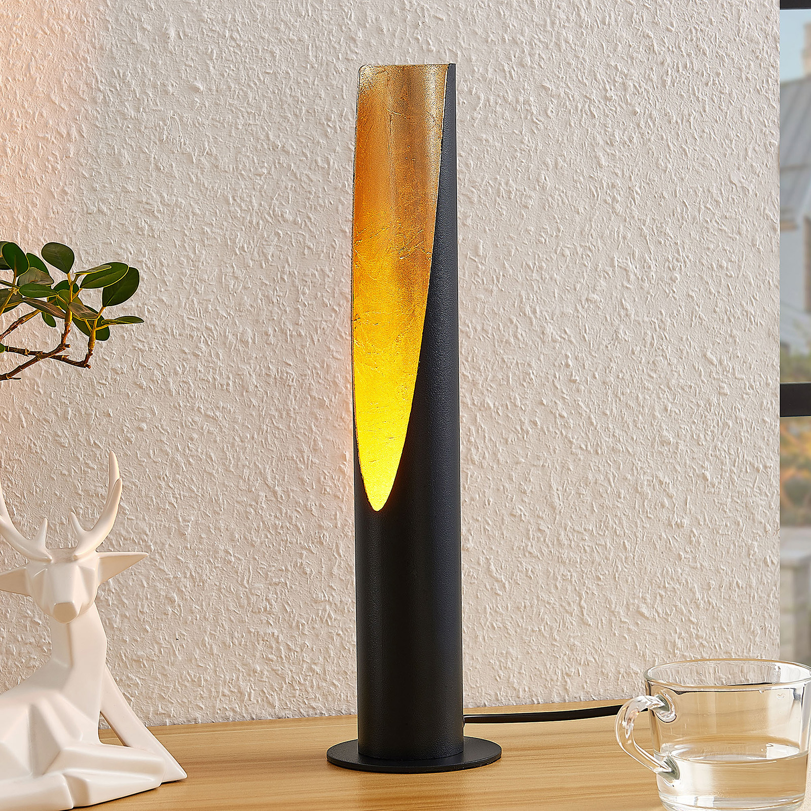 Lindby Leandro tafellamp, GU10, zwart-goud