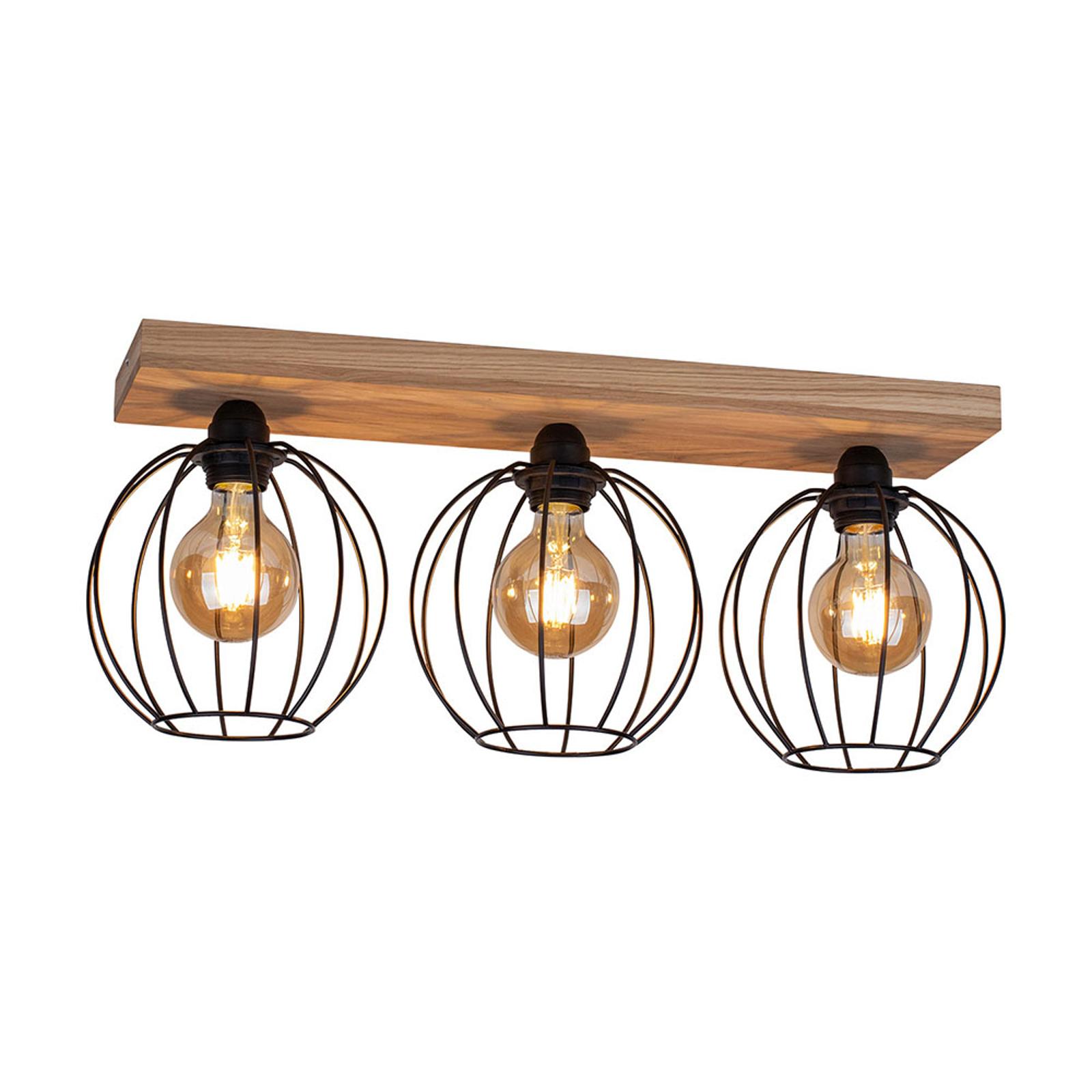 Lampa sufitowa Dorett, drewno dębowe, 3-pkt.