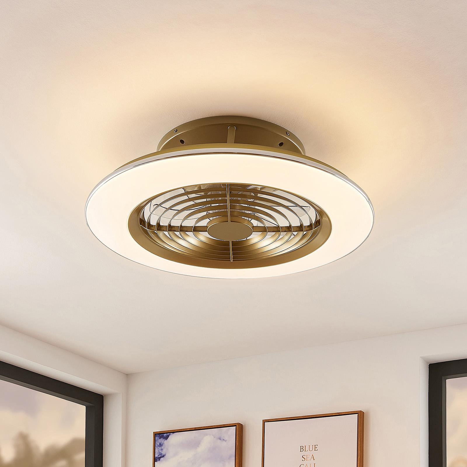 Arcchio Fenio LED-Deckenventilator mit Licht, gold