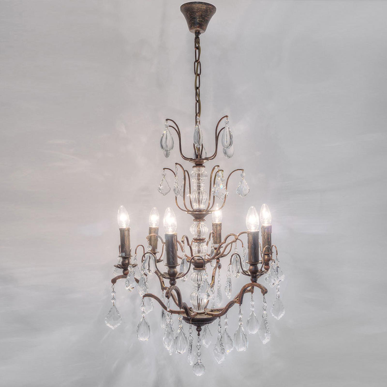 Ljuskrona Cristallo, 6 lampor i antikguld-brun