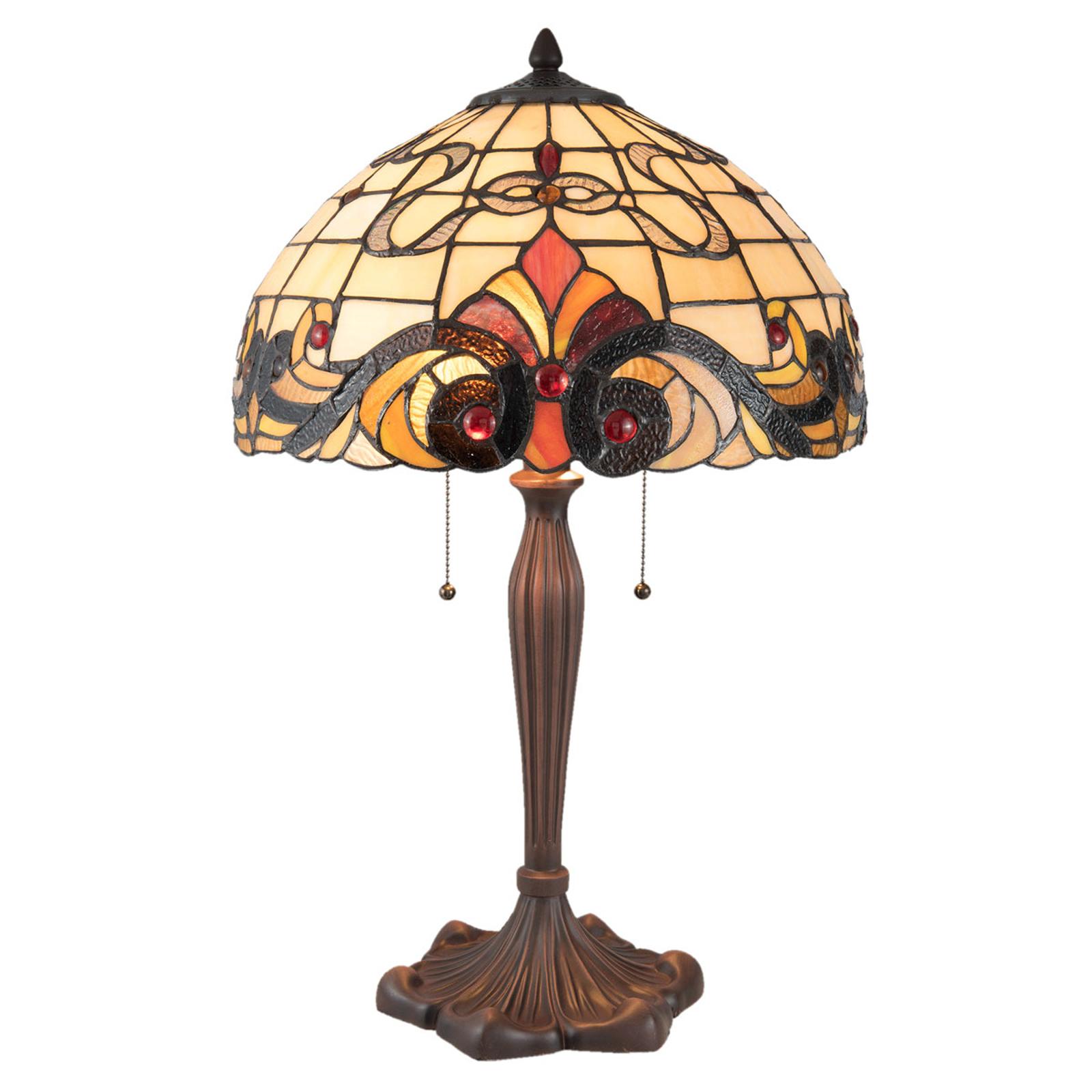 Lampe à poser 5925 au style Tiffany, crème-rouge