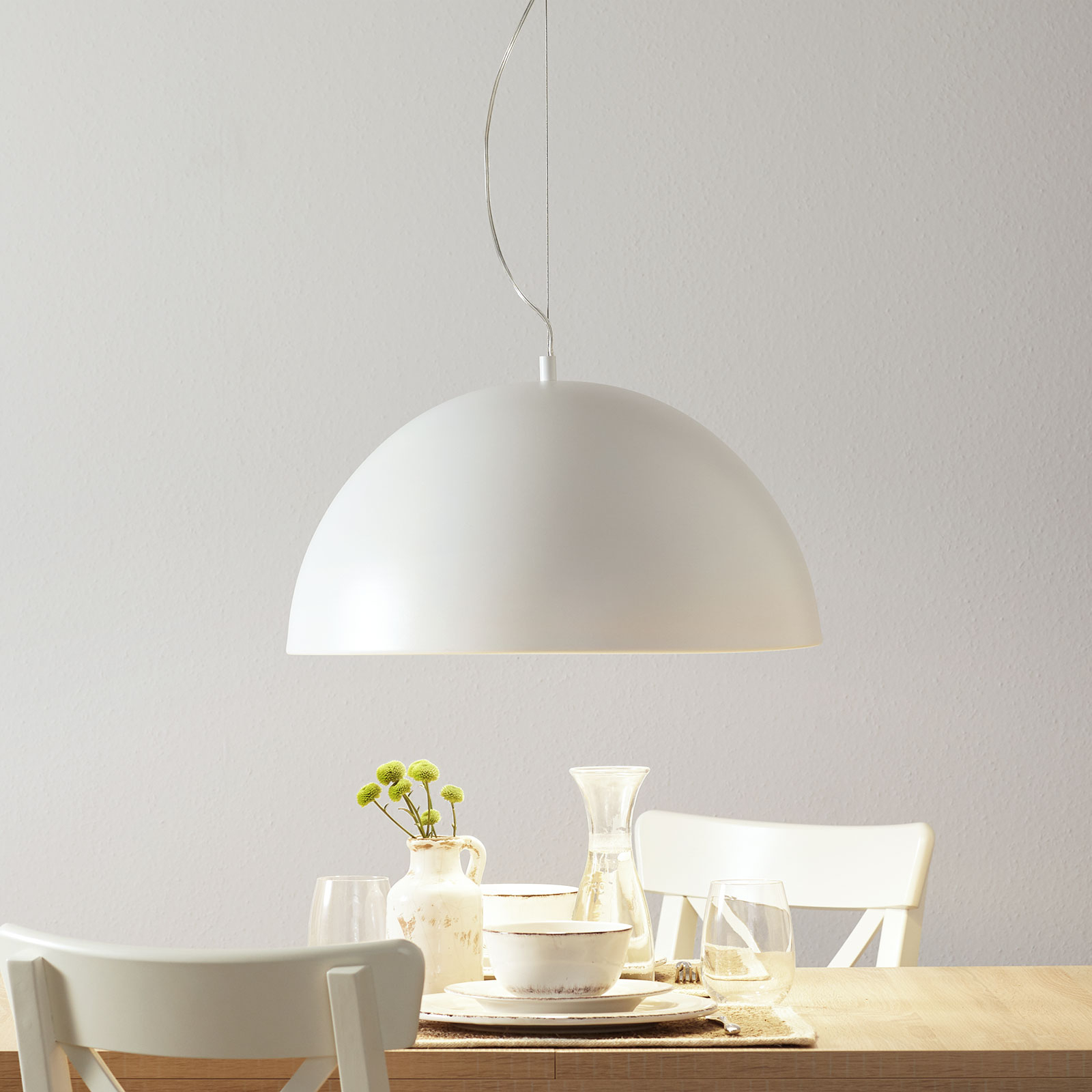 Lucande Maleo lampa wisząca 53cm biała
