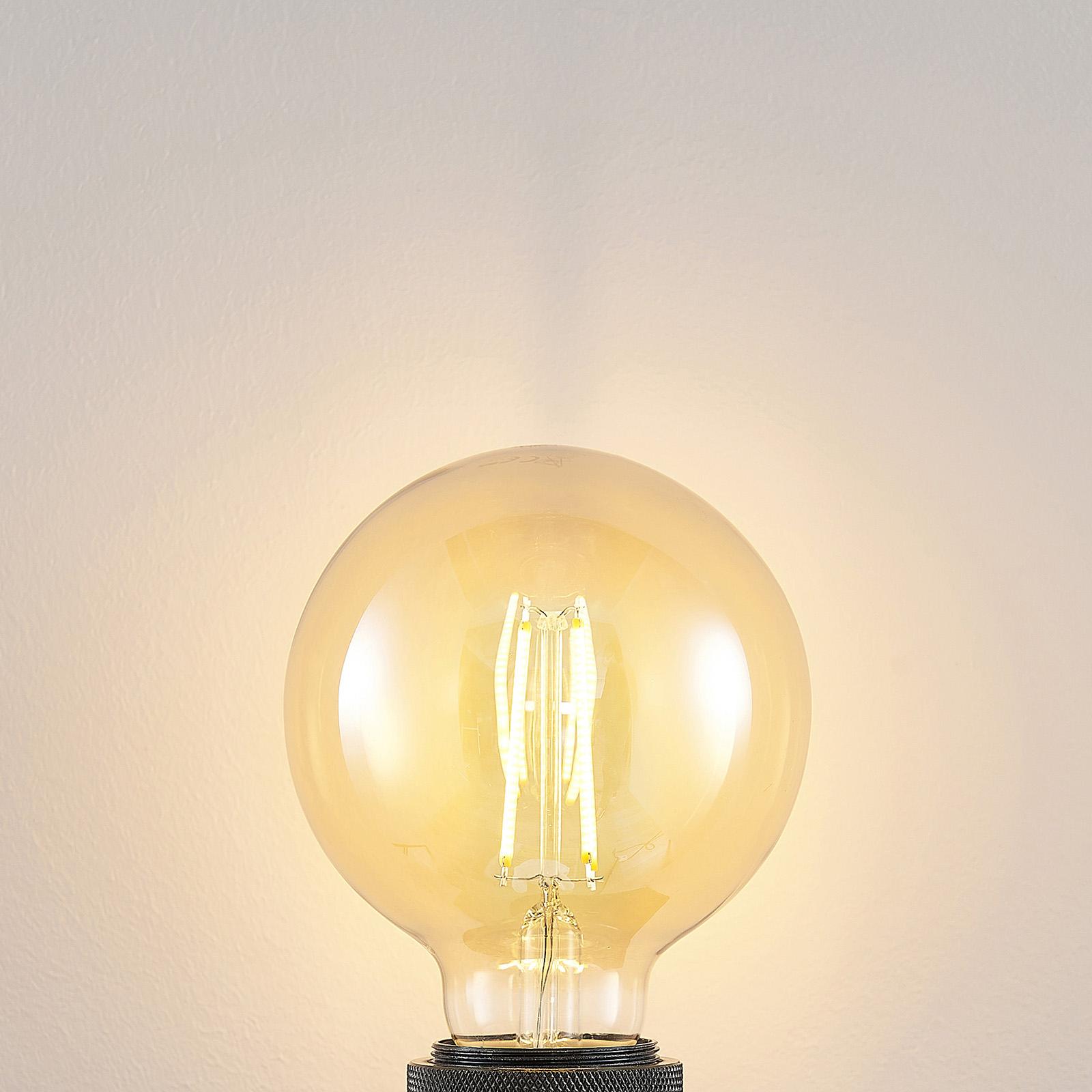 E27 LED-pære G95 6,5 W 2.500K ravgul 3-trinsdæmp.