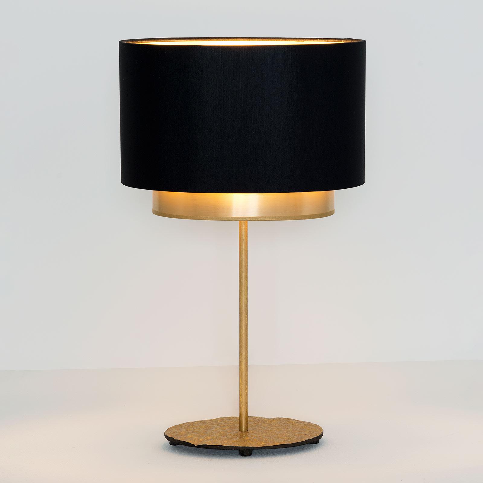 Tischleuchte Mattia, oval, doppelt, schwarz/gold