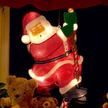 Kiipeävä joulupukki - LED-ikkunakuva