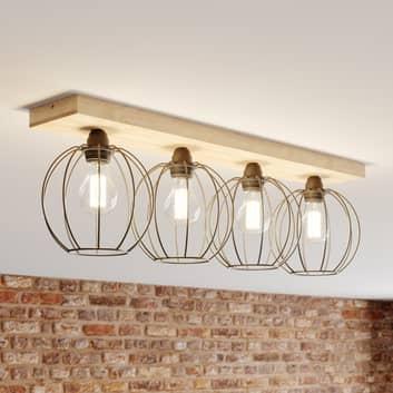 Plafondlamp Dorett, eikenhout, 4-lamps
