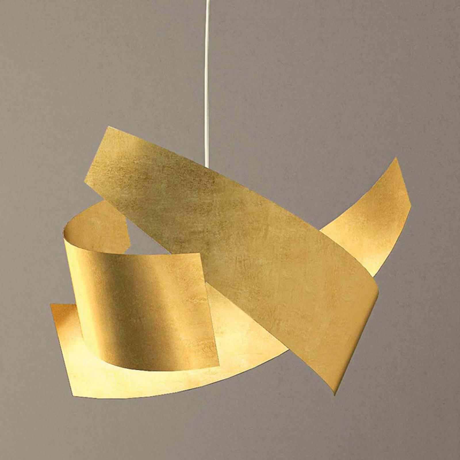 Met bladgoud bezette hanglamp Ella in edele look