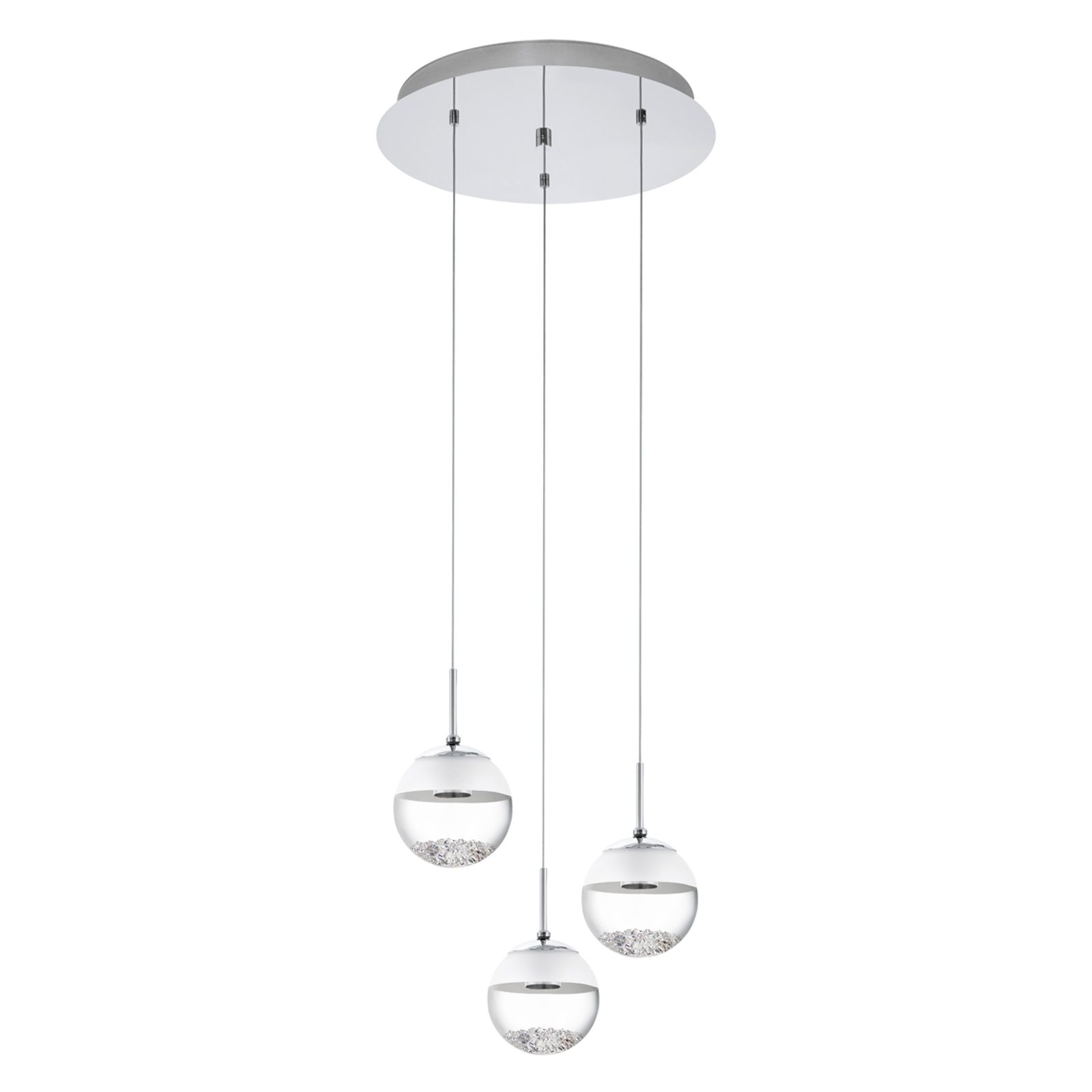 Suspension LED Montefio cristal 3 flammes