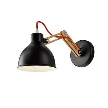 Aplique Skansen, brazo de madera ajustable, negro