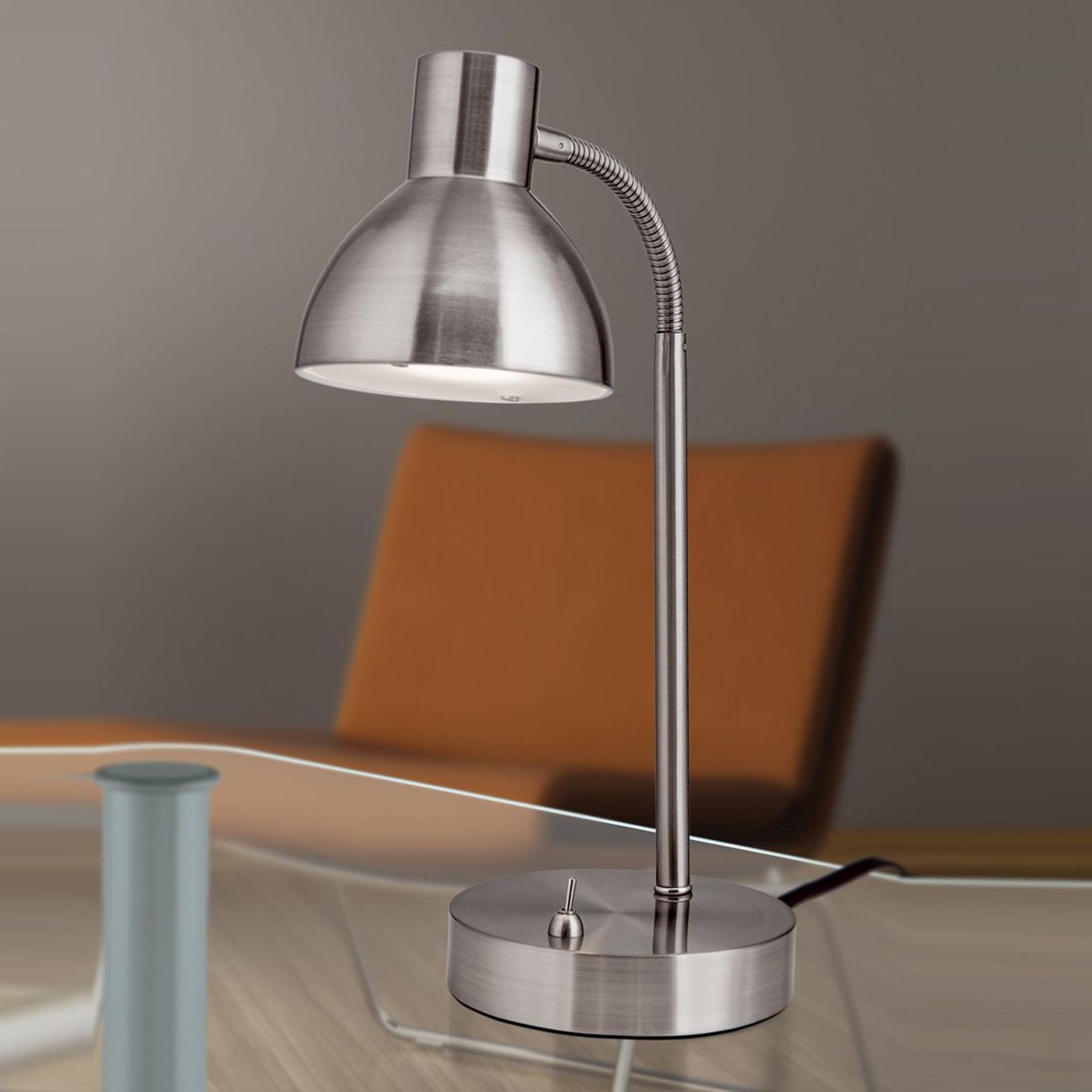 Mattnickelfarbene LED-Schreibtischleuchte Isra