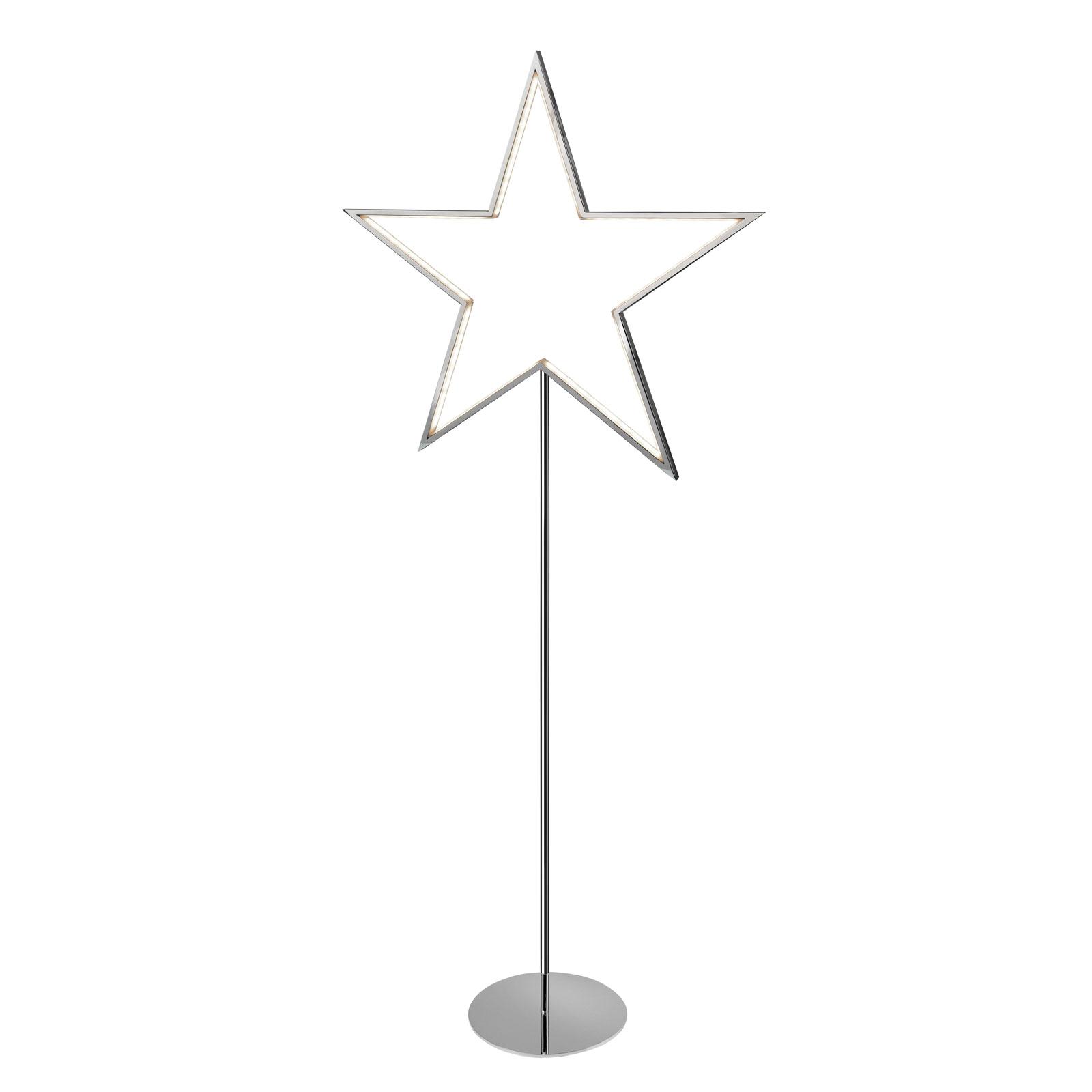 Lucy star decorative light, chrome, height 100 cm