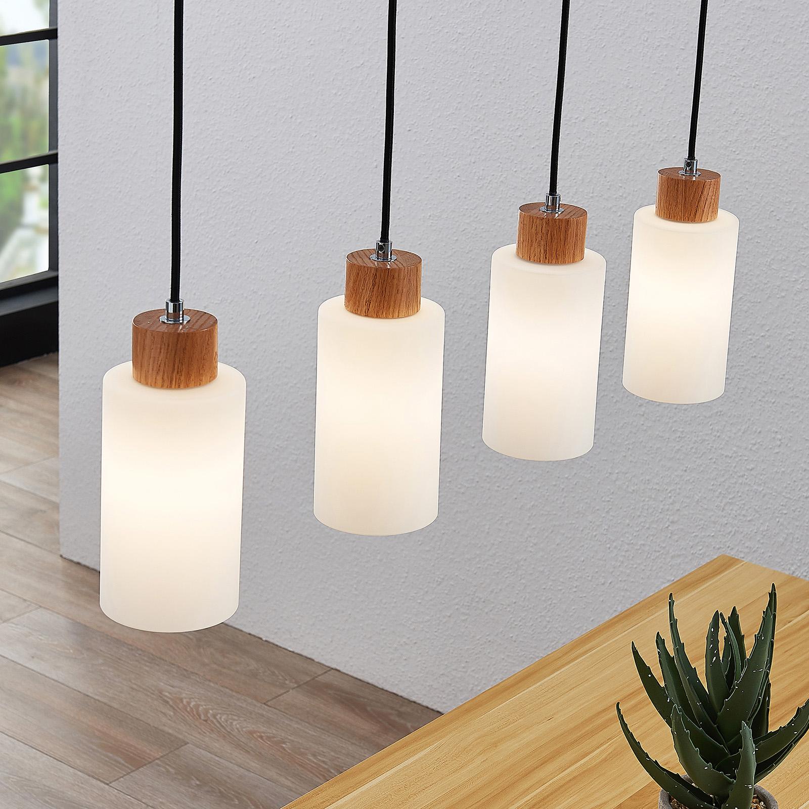 Lindby Nicus suspension en bois, à 4 lampes