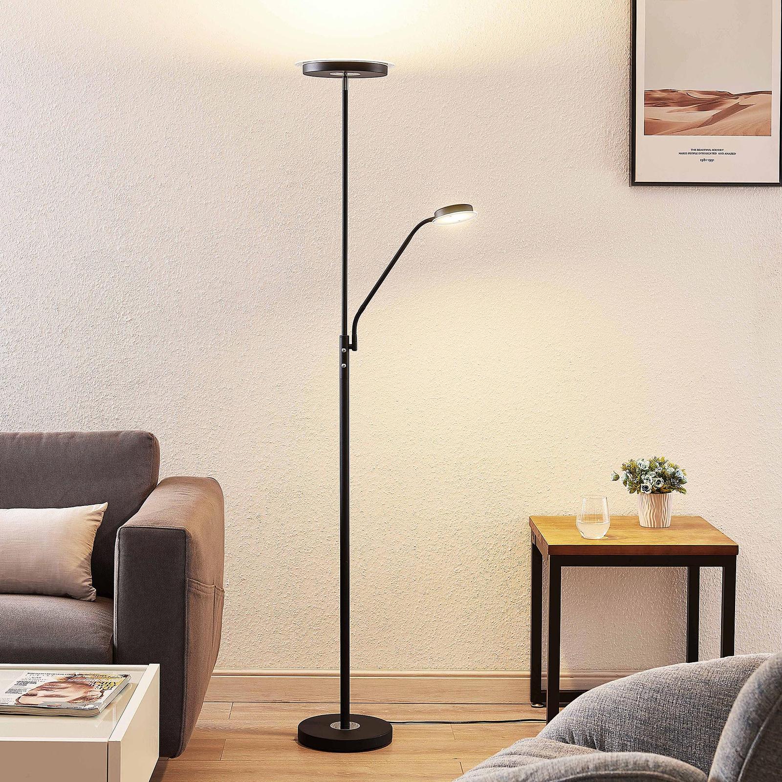 Lindby Sumani lampa stojąca LED, okrągła, czarna