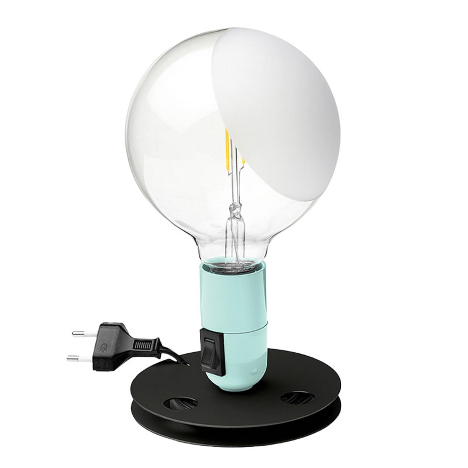 FLOS Lampadina LED da tavolo turchese, base nera