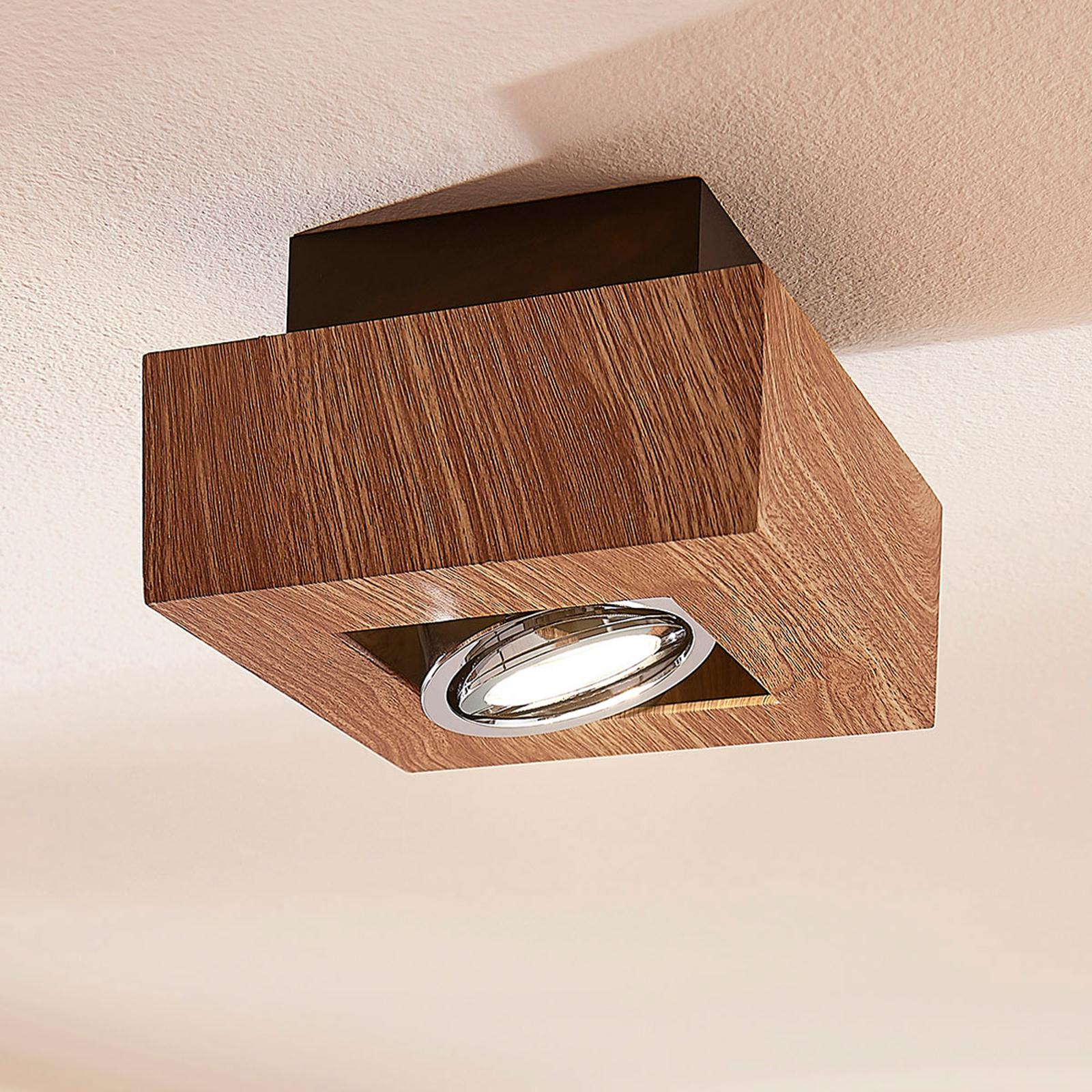 LED-Deckenleuchte Vince, 14x14cm in Holzoptik