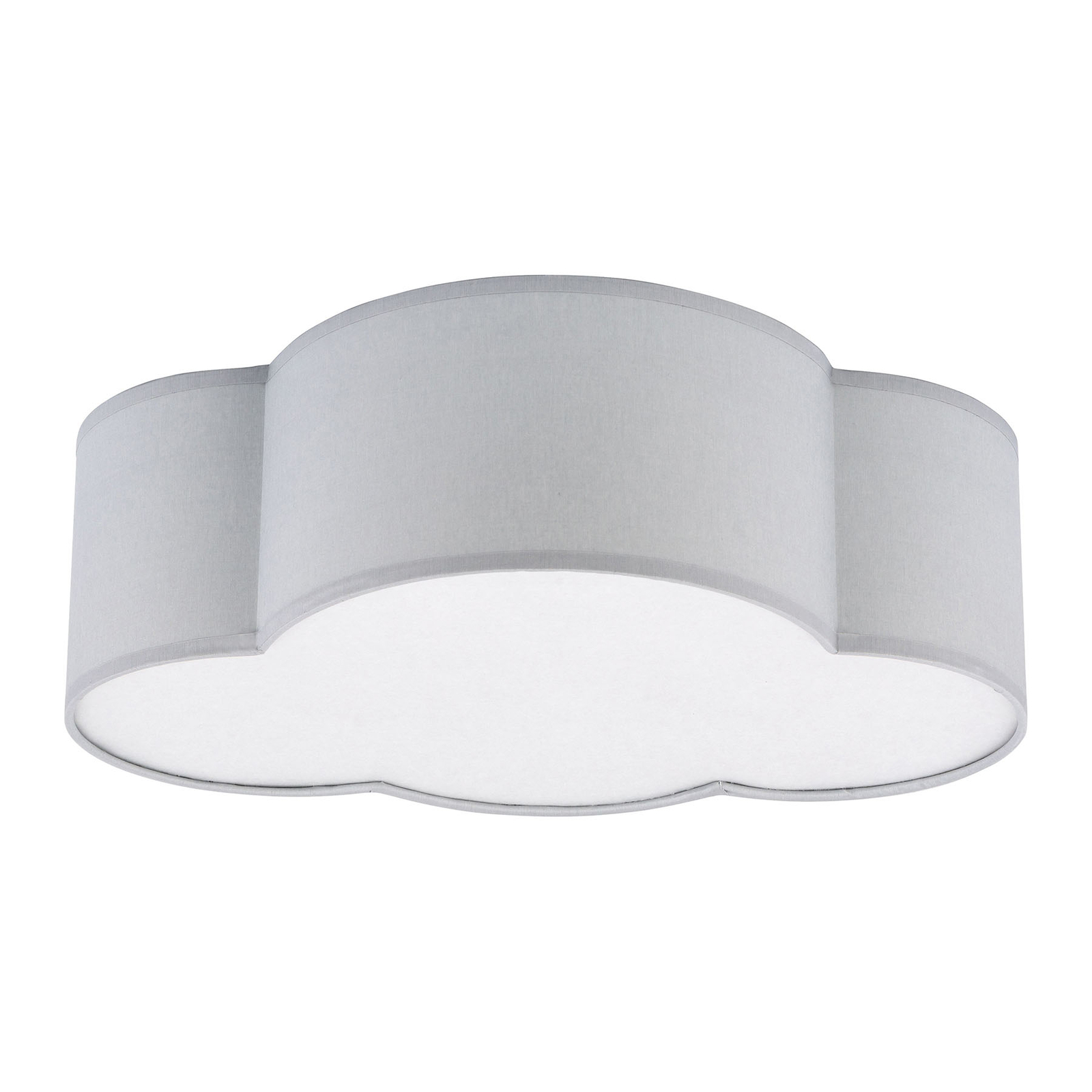 Plafondlamp Cloud van textiel, lengte 41 cm, grijs