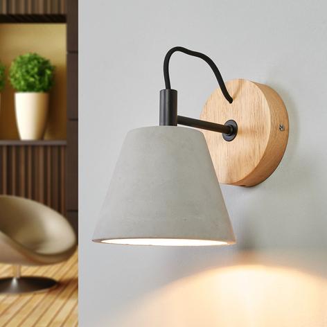 Possio - væglampe med betonskærm og træ
