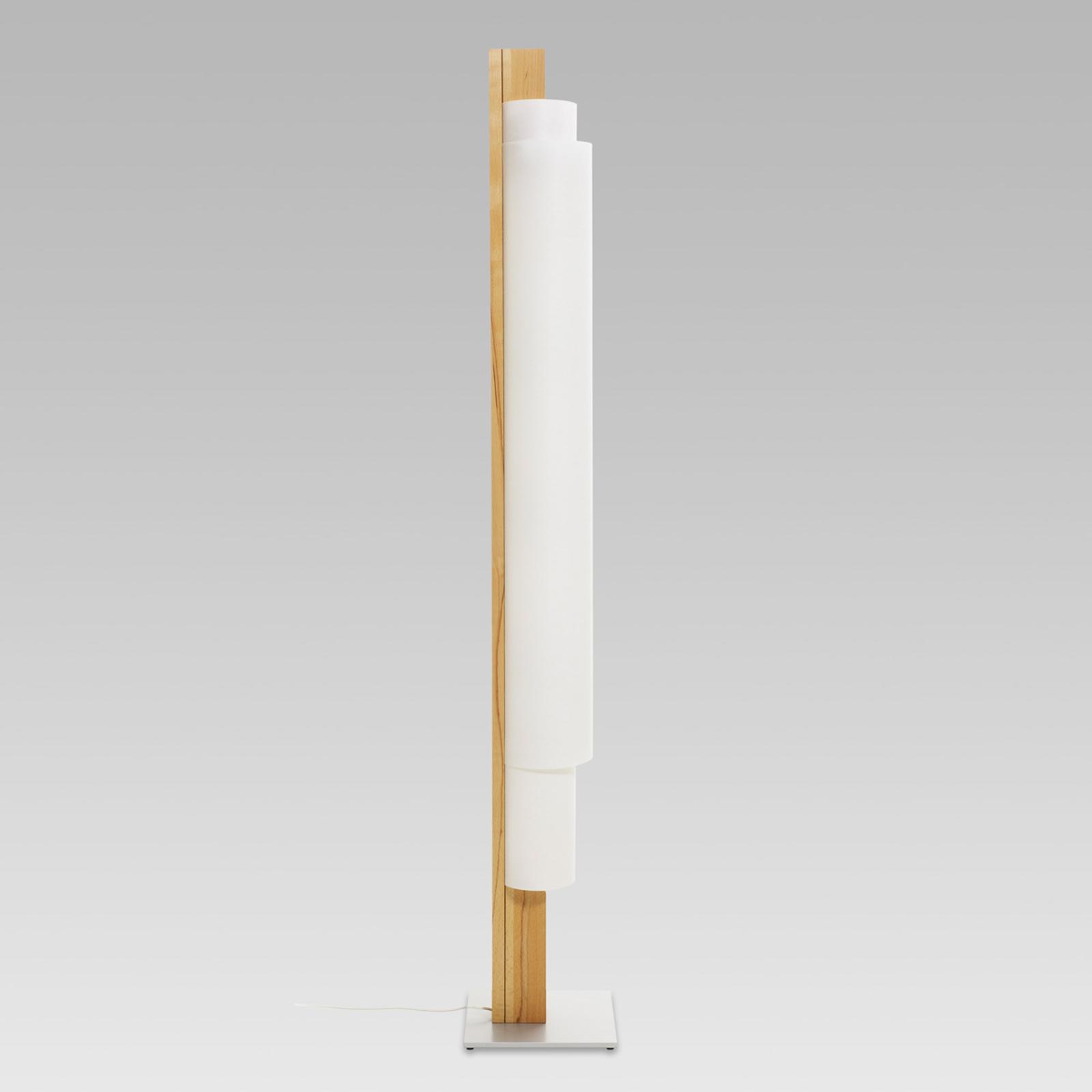 Stele - lámpara de pie LED con madera de haya
